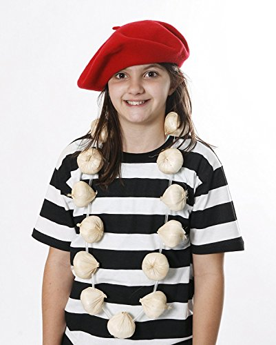RED BERET + GARLIC / ONIONS GARLAND SET NECKLACE FRENCH OR VAMPIRE SLAYER FANCY DRESS BASTILLE DAY