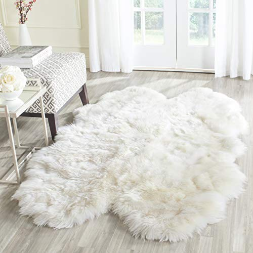 Safavieh Sheep Skin Collection SHS211A Handmade Rustic Glam Genuine Pelt 3.4-inch Extra Thick Area Rug, 4′ x 6′, Natural / White