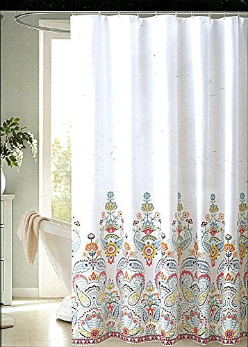 ENVOGUE Gloria Multicolored Paisley Medallion Fabric Shower Curtain