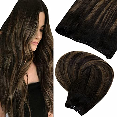 """Micro Ring Beaded Weft Hair Extensions Brown LaaVoo Easy Weft Hair Extensions Brown Microbead Weft Balayage Darkest Brown Ombre Light Brown Micro Loop Hair Weft Extensions Straight 18"""" 50g"""