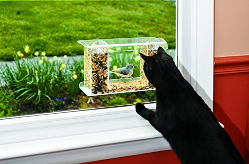 Wind & Weather, One-Way Mirror Bird Feeder, Easy to Fill and Clean, Suction Cup Attachment, View Birds Closely, Holds Approximately One Pound of Bird Seed, 13¾'L x 5¾'D x 7¾'H