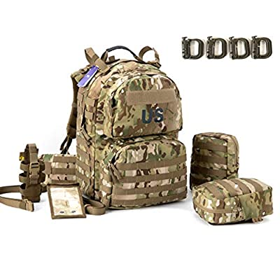 Military Surplus Molle II Medium Rucksack with 2x Sustainment Pouch, Army Tactical Backpack YKK Zipper and UTX Buckles Multicam