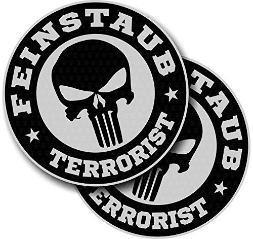 MG342 / 2x Aufkleber je D=8cm Feinstaubplakette Terrorist Diesel Autoaufkleber Sticker Oldschool Skull Gate