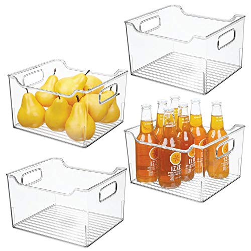 mDesign Set da 4 contenitori alimenti con manici – Portaoggetti frigo lungo per cibi cotti o confezionati – Contenitore freezer in plastica per cucina – trasparente