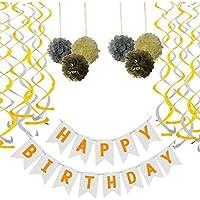 Yofey1 White Happy Birthday Banner