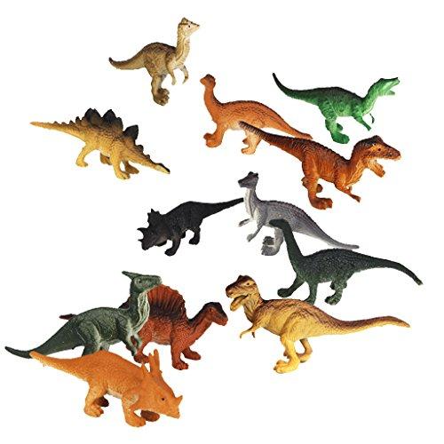 Lot de 12pcs Dinosaures Modèles en Plastique Jouets Multi-Couleurs
