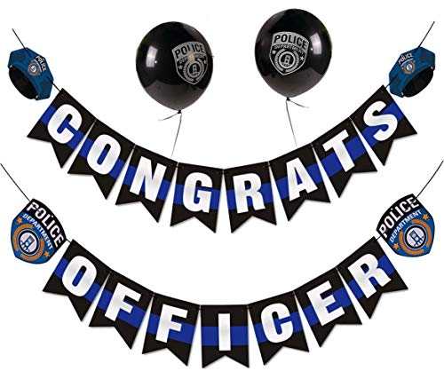 Congrats Officer Banner,Police Academy Graduation Party Decoration Supplies Featuring with Police Caps, Badges and Police Party Latex Balloons
