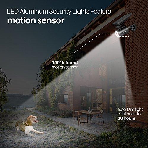 Solar Lights Outdoor Motion Sensor, 1400-Lumen Bright LED Spotlight 9-Watt(130W Equiv.), Solar Security Lights for Garden Driveway Patio, 2-Year Battery Life, 160-Week 100% Free Replacement