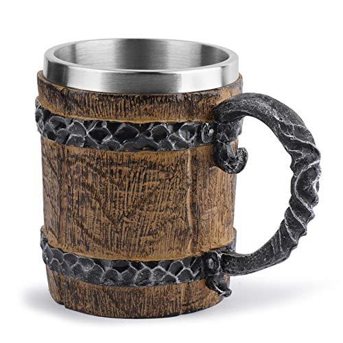 N/K Boccale di Birra in Acciaio Inossidabile a Forma di barile di Legno, Boccale di Birra Artistico Unico con Manico, Bicchiere d'Acqua Artigianale in Resina Stile retrò, 450 ml / 15 Once