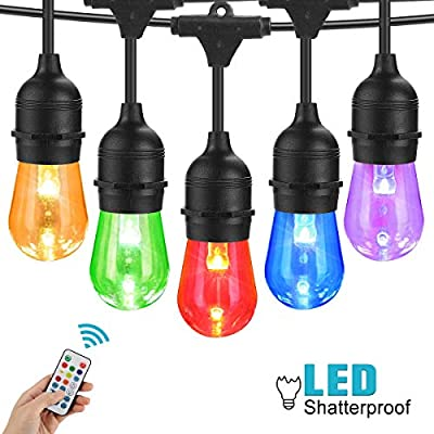 48FT Color Changing Outdoor String Lights, Commercial Grade Led String Lights with Remote Control Color Change - Waterproof Plastic Bulbs for Patio, Garden, Bistro, Café