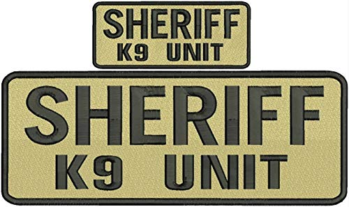 Embroidered Patch - Patches for Women Man - Sheriff k9 Unit Hook on Back Black tan