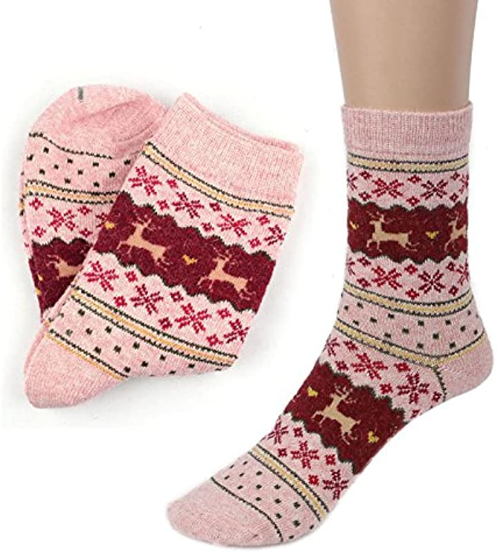 2020 Christmas Gifts Cute Christmas Deer Design Casual Knit Wool Socks Warm Winter Mens Women One Size D