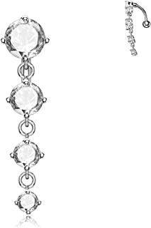 Sexy Long Belly Button Rings Dangle Surgical Steel Bars 14G Piercing Jewelry Cute Reverse Navel Ring