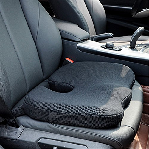 YJWAN Car Seat Cushions High-Density Pad for Car Driver Seat Office Chair Wheelchair Coccyx Support Hip, Nerve, Sciatica, Sacrum Back Pain Relief Memory Foam Seat Cushion