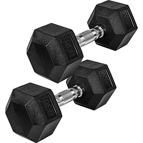 Movit® Hexagon Kurzhanteln 2er Set, Gusseisen Hanteln, 2er Set 4,0kg, insgesamt 8,0kg, Griff gerändelt, Hantel Set Kurzhantelset Gewichte