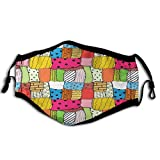 Geometric, Needlework Hobby Theme Lively Colored Quilt Pattern with Different Random Pieces,Multicolor Reusable Face Mask Balaclava Washable Outdoor Nose Mouth Cover for Men and Women