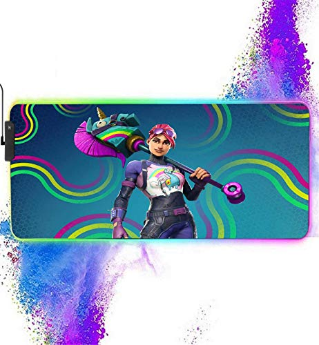 RGB Mouse Pad Extended for Fortnite-Brite Bomber,12 Lighting Modes Mousepads-Anti-Slip Rubber Base & Stitched Edges-Waterproof Keyboard and Mice Combo Mat Perfect for Laptop,Computer & PC 31.5X11.8