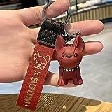 Mengove Hund Schlüsselbund Bulldogge Schlüsselring Tier Schlüssel Anhänger Kreative Schlüsselring Kleines Geschenk Welpen Party Begünstigt Weihnachten Party Tasche Füllstoffe