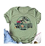 Material: Cotton Blend, breathable and great to wear all day Features:Women Motherhood is A Walk in The Park Letters Print Short Sleeve T Shirt, Jurassic Dinosaur design Graphic Blouse Tees, Casual Loose Fit Round Neck Tshirt Tops Occasions: Dinosaur...