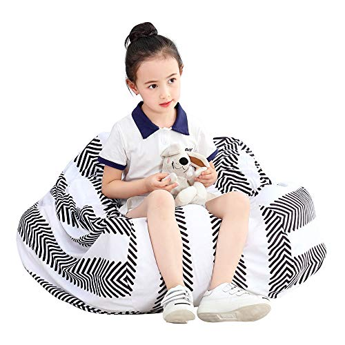 Everfunny Stuffed Animal Bean Bag Chair Kids Toy Storage Organizer Stuffie Seat, Foldable Floor Chair Toy Storage Bean Bag Chair Seat for Kids, Childrens Extra Large Super Soft Velvet,Cover Only