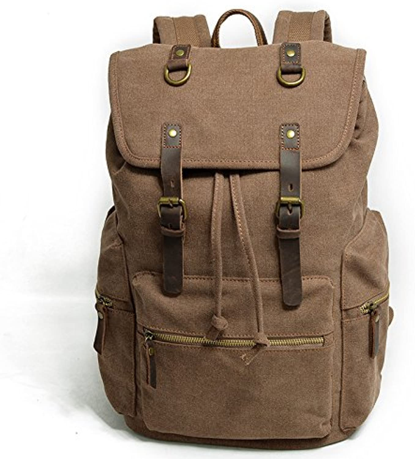 Leisure Shoulder Bag Casual Retro Backpack Bag Fashion Men Bag Oil Wax Soft Canvas Travel Bag 28cm15cm43cm, Brown