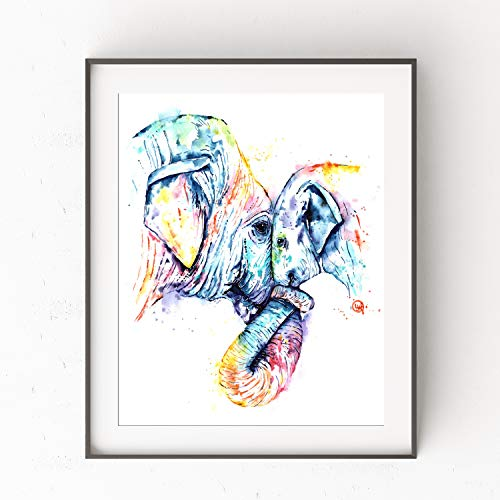 Elephant Wall Art by Whitehouse Art | Elephant Gifts, Elephant Decor, Nursery Decor, Bathroom Artwork| Professional Print of Elephants Original Watercolor Painting | Baby Shower Gifts | 5 Sizes