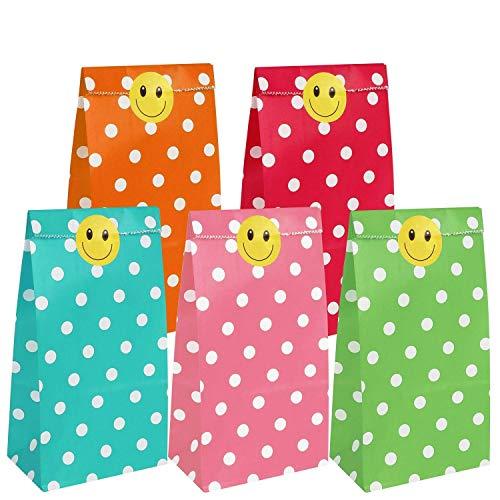 Papiertüten Klein 80 Stück,Geschenktüten,Kleine Papiertüten,Geschenktüten Klein,Geschenktüten papier mit 80 Stück Etikettenaufklebern,5 Farben
