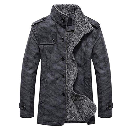 HotMens Thermal Leather Coat Jacket Slim Fit Button Autumn Winter Casual Fashion Tops Outwear Dark Gray L