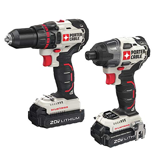 Porter-Cable PCCK618L2R 20V MAX Cordless Lithium-Ion Brushless Drill and Impact Driver Combo Kit (Renewed)