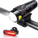 Luces de Bicicleta Conjunto Luces de Bicicletas súper Brillantes Recargables USB IPX5, Luces de Sensor de Bicicletas, Faros de Carga USB, Bicicleta de montaña Advertencia de Luces traseras