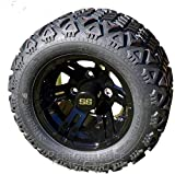 Performance Plus Carts Bulldog 10' Black Golf Cart Wheels with 18' All Terrain Tires - Set of 4 - NO Lift KIT Required