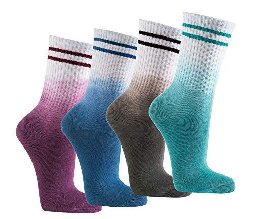 Wowerat 2-10 Paar Crew Socks Socken Batik Optik Sportsocken Tennissocken Streifen Unisex (petrol, 2)