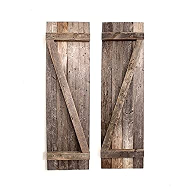BarnwoodUSA | 36  Rustic, Decorative Wood Window Shutters, 2-Pack | 100% Up-cycled Reclaimed Wood