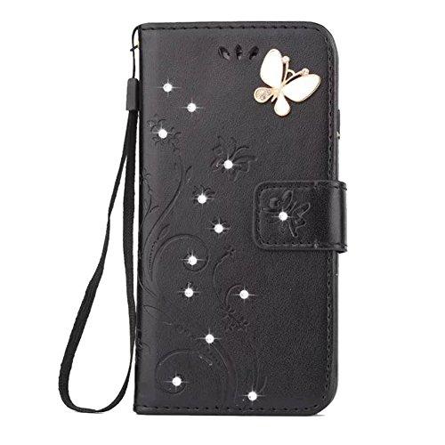 Homikon PU Leder Hülle Retro Schön Schmetterling Blume Schutzhülle für Mädchen Brieftasche Ledertasche Bling Glänzend Glitzer Diamant Handyhülle Etui Kompatibel mit iPhone SE/5S/5 - Schwarz