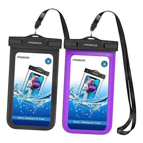 MoKo Funda Impermeable 2 PZS Brazalete y Correa de Cuello para iPhone 12 12 Mini 12 Pro X XS XR XS MAX, Samsung S21 S10 S10 e, Pixel 4, Pixel 4 XL, y Smartphone 5.7'' - Negro + Morado
