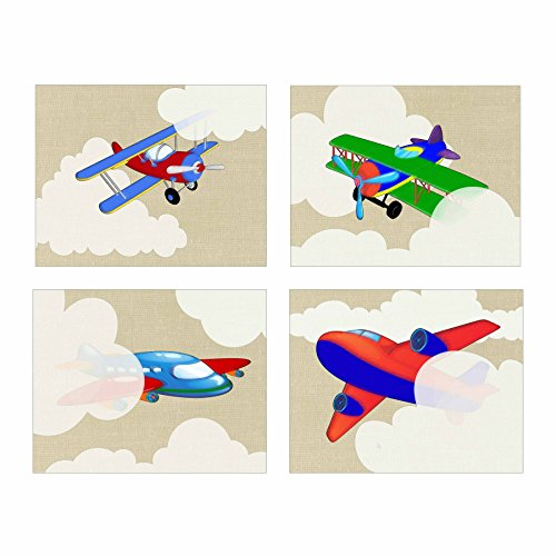 Artdash brand Decorative Bedroom Art Prints: AIRPLANES in the Clouds ~ Linen Background (8'×10')