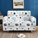 IUYJVR Housse de canapé 3D Ocean pour 1 2 3 4 Places Housses de canapé en Tissu Extensible Lavable Protecteur de canapé pour canapés en Cuir + Cadeau de Rouleau collant x 1 (Brousse de Corail, 4 pl
