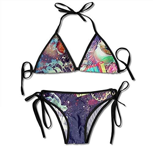 Traje de baño, Parte Inferior y Superior atadas Traje de baño de Dos Piezas Conjunto de Bikini para Mujer, Trajes de baño de Playa llamativos