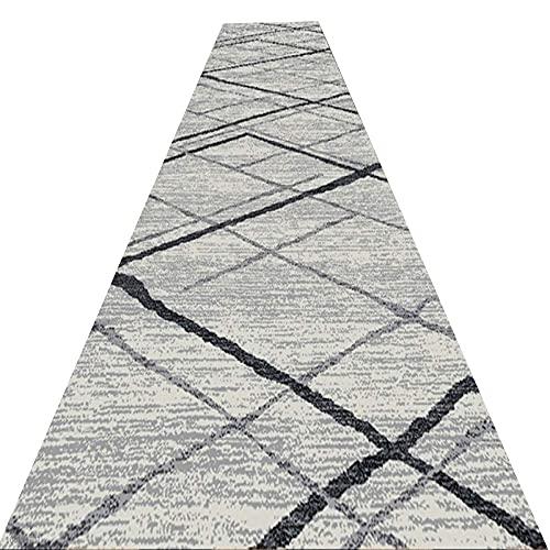 WMin Runner - Alfombra de pasillo con sencillez, fácil de limpiar y mantener la alfombra de entrada larga, absorción de agua, almohadilla antideslizante para escaleras (color: gris, tamaño: 1,6 x 2 m)