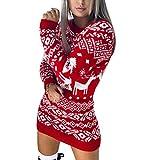 Vestido de Suéter Navidad de Manga Larga Invierno para Mujer con Patrones Navideños Vestido de Suéter Cálido Suave Casual (Rojo, S)