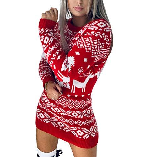 Vestito Maglione Lungo Donna Invernale per Natale a Maniche Lunghe con Disegni Natalizi Lavorato a Maglia Casual Morbido Caldo (Rosso, XL)