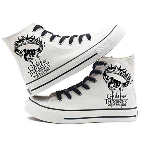 Telacos Juego de Tronos una canción de Hielo y Fire Lienzo Zapatos Zapatillas Zapatos Negro/Blanco, Blanco 2