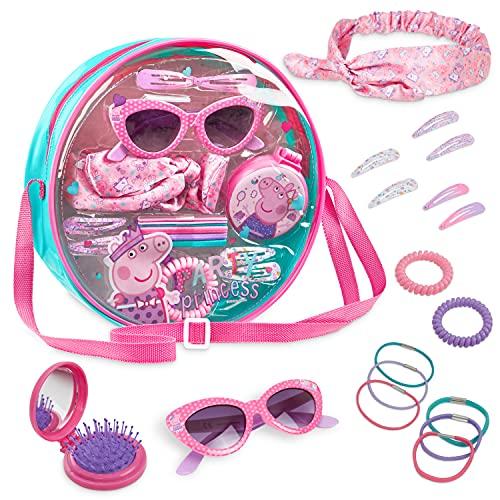 Peppa Pig Accesorios Pelo Niña, Bolso Con Accesorios Cabello Incluye Diademas, Horquillas, Cinta Pelo, Gafas Sol Y Peine, Regalo Cumpleaños Niñas