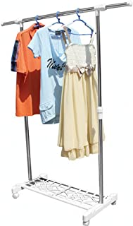 ZKKAW Clothes Airer, Stainless Steel Drying Rack Laundry Rack with Height-Adjustable Stable Free-Standing Laundry Stand Use for Socks Clothing(White)