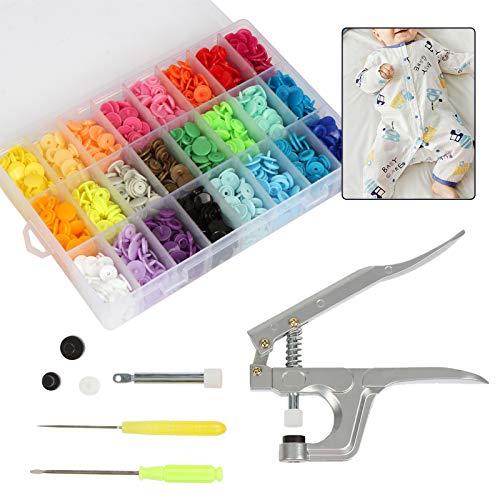 Meisax - Juego de 360 botones de presión T5 Snaps y alicates, 24 colores, no es necesario coserlos, para manualidades o para costura