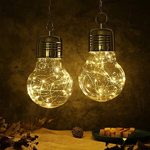 JHY DESIGN Juego de 2 lámparas colgantes para exteriores, con pilas, con asa, lámpara de mesa LED impermeable, decorativa para porche,