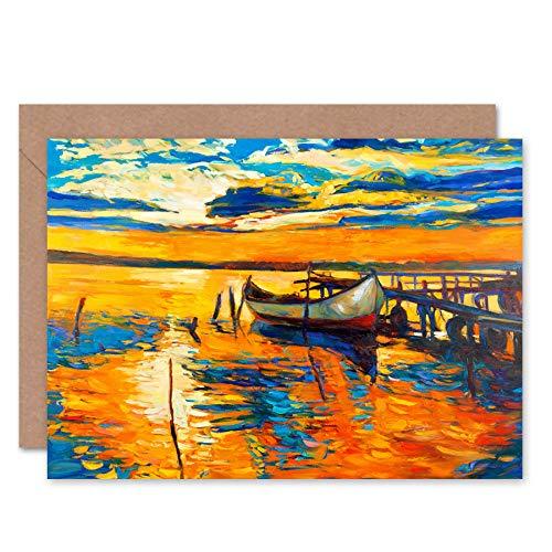 Fijne Kunst Prints Boot Door De Dock Bij Zonsondergang Wenskaart Met Envelop Binnen Premium Kwaliteit