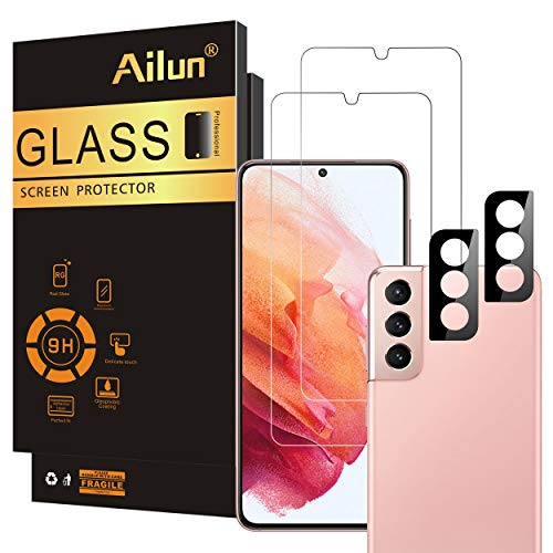 Ailun Glass Screen Protector for Galaxy S21 5G [6.2 inch] 2Pack + 2Pack Camera Lens Tempered Glass Fingerprint Unlock Compatible 0.33mm Ultra Clear Anti-Scratch Case Friendly [Not for Galaxy S21 Plus]