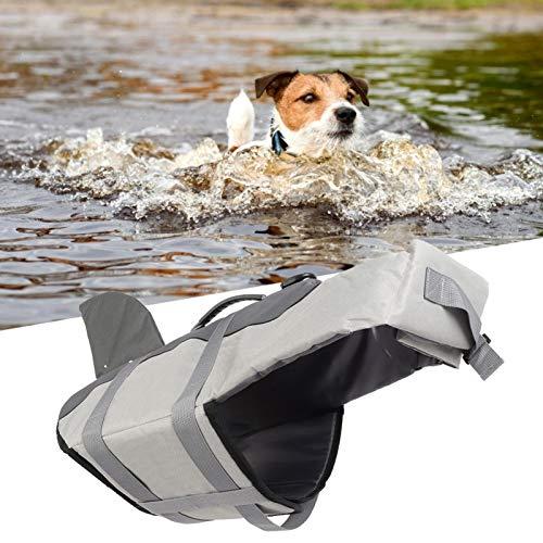 SALUTUYA Chaleco Impermeable de la Seguridad de la natación del Animal doméstico, Chaleco Salvavidas Incorporado de la Esponja para el Chaleco de Seguridad del(JSY03 Gray, L)