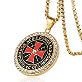 HZMAN Knight Templar Necklace - Masonic College Style Gold Color Stainless Steel Pendant for Men (Gold)